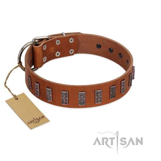"""Silver Century"" Fashionable FDT Artisan Tan Leather Great Dane Collar with Silver-Like Plates"
