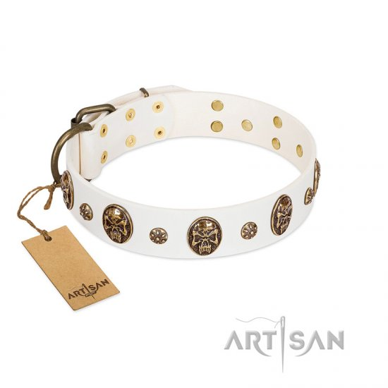 """Magic Bullet"" FDT Artisan White Leather Great Dane Collar with Studs and Skulls"