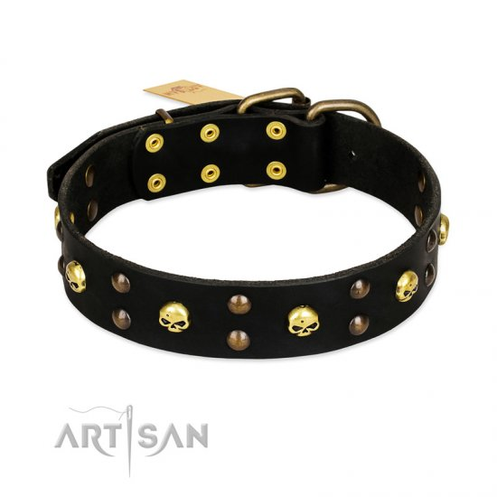 FDT Artisan 'Heavy Metal' Leather Great Dane Collar with Skulls and Half-Balls 1 1/2 inch (40 mm)