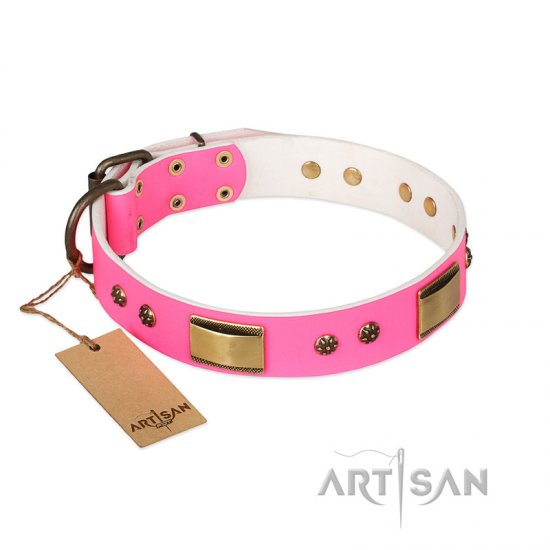 """Pink Daydream"" FDT Artisan Pink Leather Great Dane Collar with Old Bronze Look Plates and Studs"