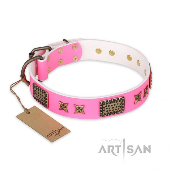 """Tender Pink"" FDT Artisan Leather Great Dane Collar with Old Bronze Look Stars and Plates"