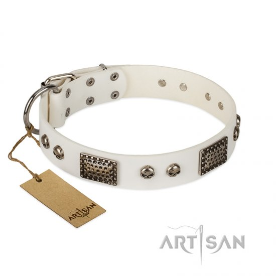 """Terrific Beauty"" FDT Artisan Beguiling White Leather Great Dane Collar"