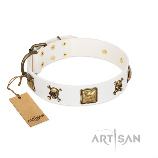 """Glo Up"" FDT Artisan White Leather Great Dane Collar with Skulls and Crossbones Combined with Squares"