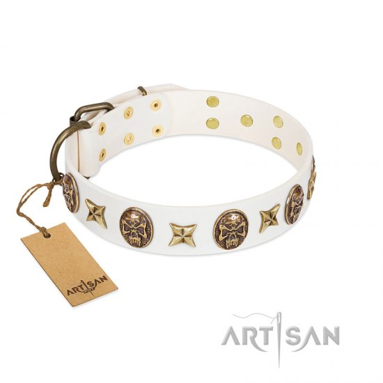 """Fads and Fancies"" FDT Artisan White Leather Great Dane Collar with Stars and Skulls"