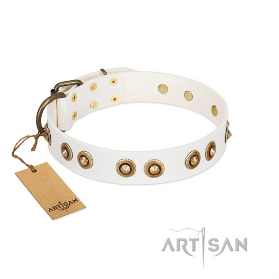 """Moonlit Stroll"" FDT Artisan White Leather Great Dane Collar with Antique Decorations"