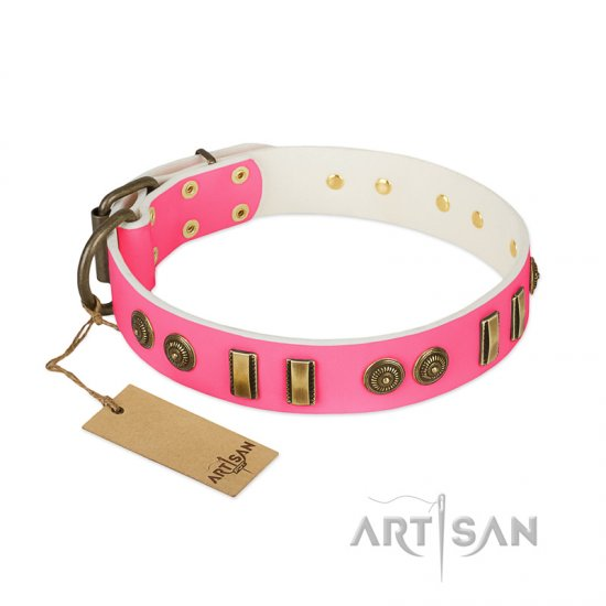 """Pink Amulet"" FDT Artisan Leather Great Dane Collar with Old Bronze-like Plates and Circles"