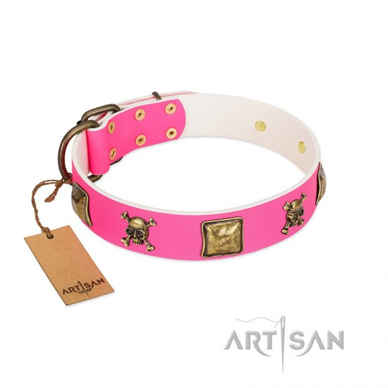 """Wild and Free"" FDT Artisan Pink Leather Great Dane Collar with Skulls and Crossbones Combined with Squares"