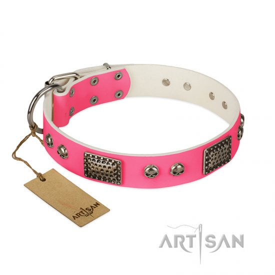 """Fashion Skulls"" FDT Artisan Pink Leather Great Dane Collar with Old Silver Look Plates and Skulls"