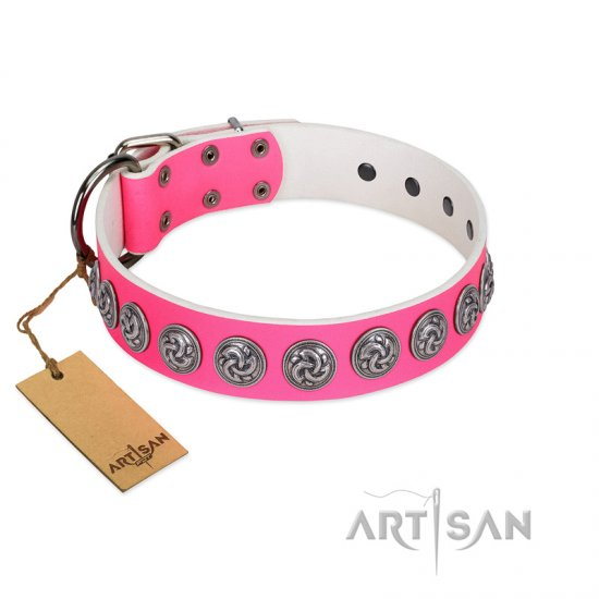 """Pink Garden"" Designer FDT Artisan Pink Leather Great Dane Collar for Stylish Look"