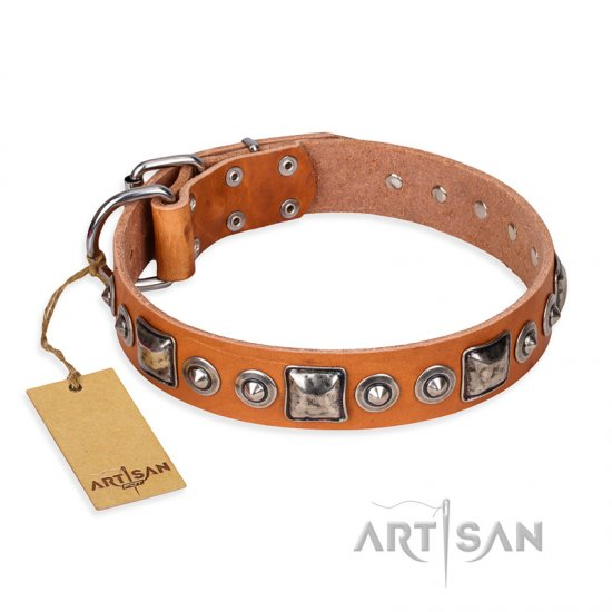"""Era of Future"" FDT Artisan Handcrafted Tan Leather Great Dane Collar with Decorations"