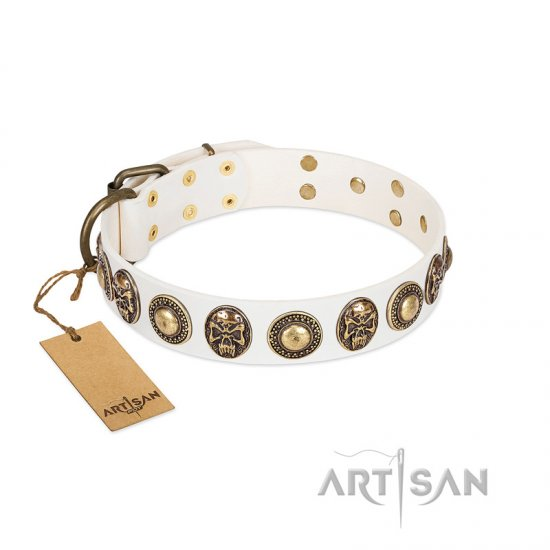 """White Delight"" FDT Artisan White Leather Great Dane Collar with Exclusive Embelishments"