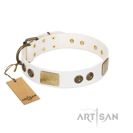 """Sweet Melody"" FDT Artisan White Leather Great Dane Collar with Plates and Ornamented Studs"