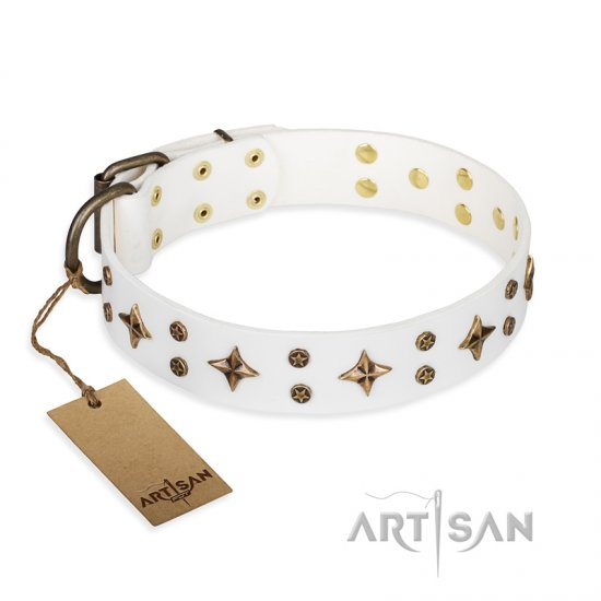 'Bright stars' FDT Artisan White Leather Great Dane Dog Collar with Old Bronze Look Decorations - 1 1/2 inch (40 mm) wide