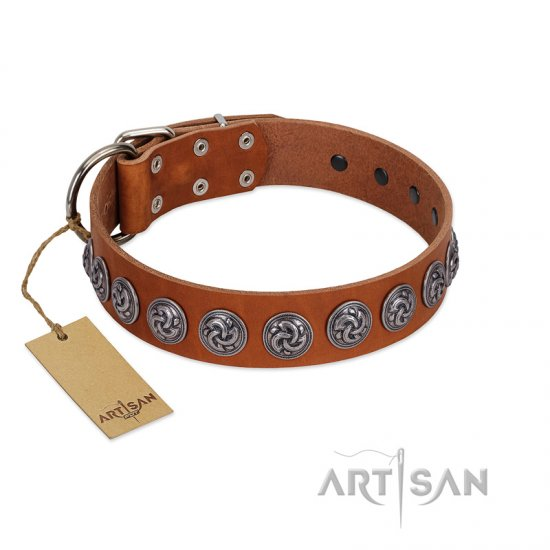 """Velvet Kiss"" Handmade FDT Artisan Tan Leather Great Dane Collar with Vintage Medallions"