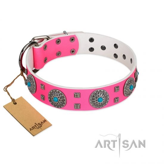 """Pink Delight"" FDT Artisan Pink Leather Great Dane Collar for Everyday Walking"