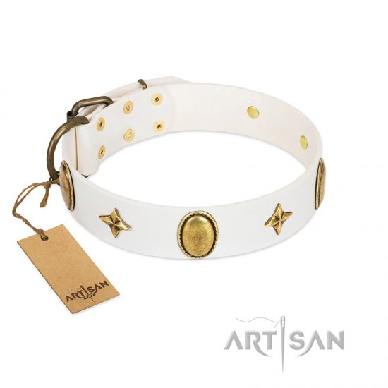 """Hollywood Star"" FDT Artisan White Leather Great Dane Collar with Ovals and Stars - 1 1/2 inch Wide"