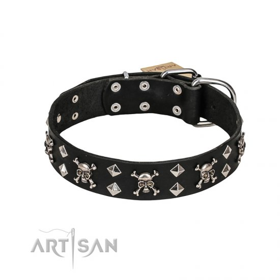 FDT Artisan 'Rock 'n' Roll Style' Fancy Leather Great Dane Collar with Skulls, Bones and Studs 1 1/2 inch (40 mm) wide