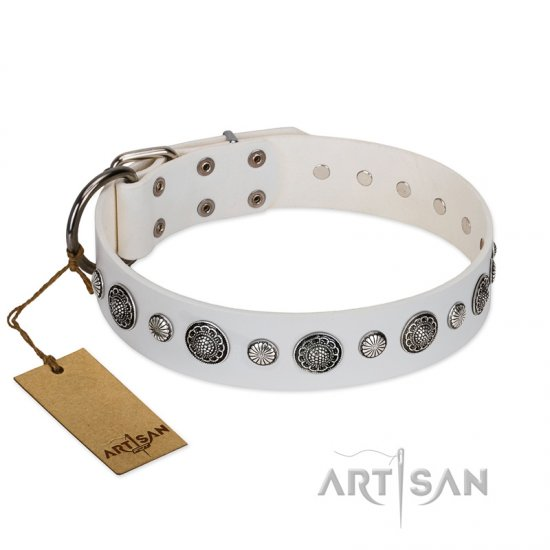 """Fluff-Stuff Beauty"" FDT Artisan White Leather Great Dane Collar with Silver-like Studs and Conchos"