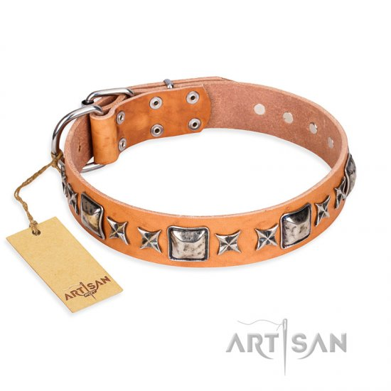 """Glamour Finery"" FDT Artisan Female Great Dane collar of natural leather with stylish old-looking circles"