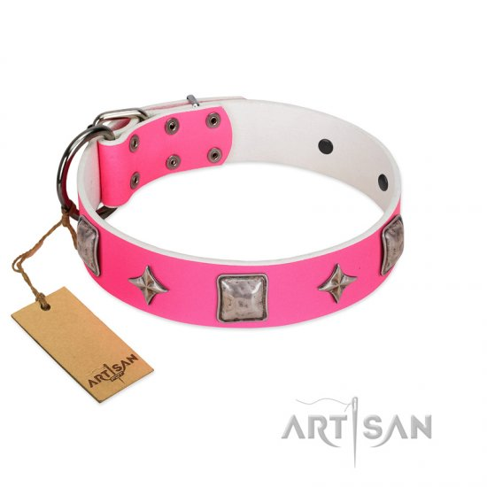 """Star World"" Gorgeous FDT Artisan Pink Leather Great Dane Collar with Silver-Like Adornments"
