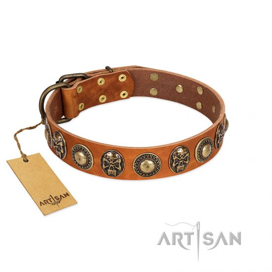 """Golden Epoch"" FDT Artisan Tan Leather Great Dane Collar with Old Bronze-plated Medallions and Conchos"