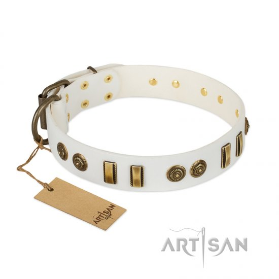 """Midsummer Snow"" FDT Artisan White Leather Great Dane Collar with Old Bronze-like Plates and Circles"