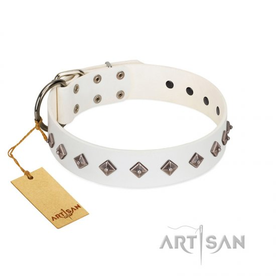 """Snowy Day"" Stylish FDT Artisan White Leather Great Dane Collar with Small Dotted Pyramids"