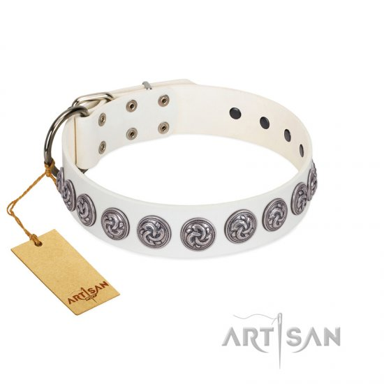"""Bohemian Spirit"" Handmade FDT Artisan White Leather Great Dane Collar with Vintage Decorations"