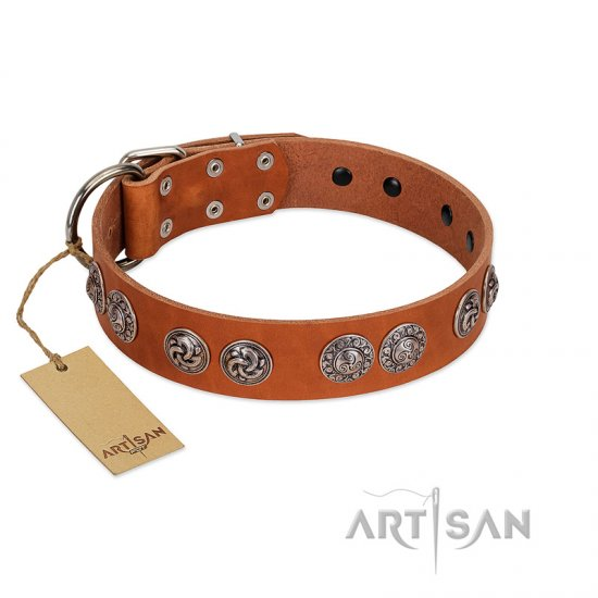 """Woofy Majesty"" FDT Artisan Tan Leather Great Dane Collar with Round Silver-like Plates"