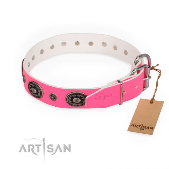 """Flavor of Strawberry"" FDT Artisan Flashy Pink Leather Great Dane Collar"
