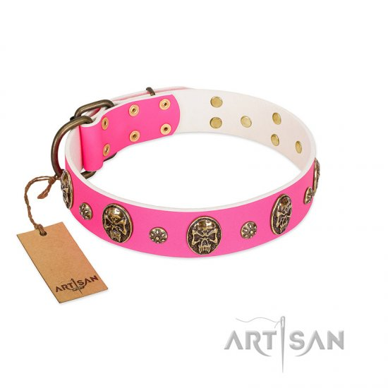 """Fashion Show"" FDT Artisan Pink Leather Great Dane Collar with Old Bronze-like Skulls and Studs"