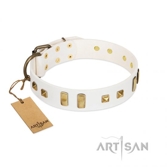 """Wintertide Mood"" FDT Artisan White Leather Great Dane Collar with Old Bronze-like Plates and Studs"
