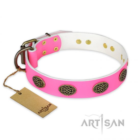 """Forever Fashion"" FDT Artisan Leather Great Dane Collar with Old Look Plates - 1 1/2 inch (40 mm) wide"