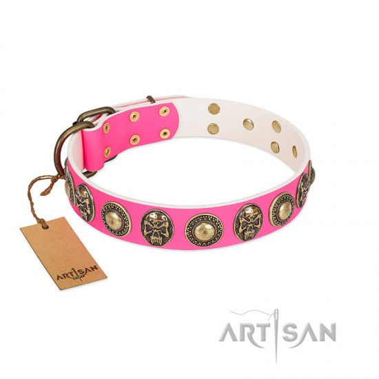 """Two Extremes"" FDT Artisan Pink Leather Great Dane Collar with Elegant Conchos and Medallions with Skulls"