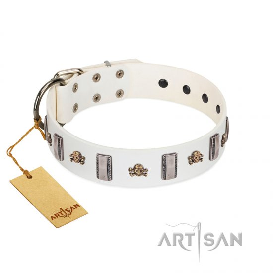 """Mysterious Voyage"" FDT Artisan White Leather Great Dane Collar with Engraved Plates and Skulls"