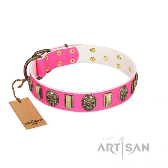 """Perilous Beauty"" Pink FDT Artisan Leather Great Dane Collar with Small Plates and Skulls"