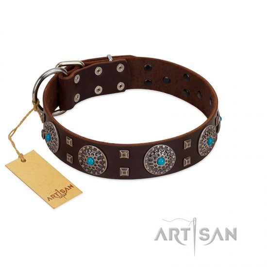 """Hypnotic Stones"" FDT Artisan Brown Leather Great Dane Collar with Chrome Plated Brooches and Square Studs"
