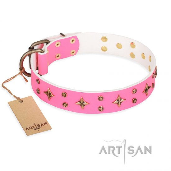 'Chi-Chi Pink Rose' FDT Artisan Leather Great Dane Collar with Decorations