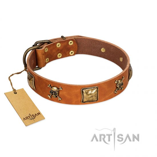 """Knights Templar"" FDT Artisan Tan Leather Great Dane Collar with Skulls and Crossbones Combined with Squares"