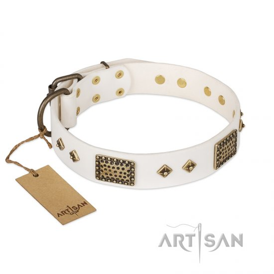 """Snow-covered Gold"" FDT Artisan White Leather Great Dane Collar"