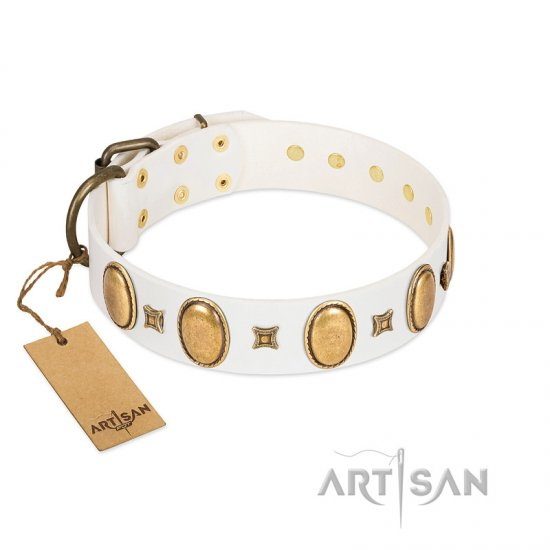 """Chichi Pearl"" Designer Handmade FDT Artisan White Leather Great Dane Collar with Ovals and Studs"