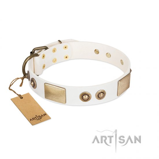 """Noble Impulse"" FDT Artisan White Leather Great Dane Collar Adorned with Antique Plates and Studs"