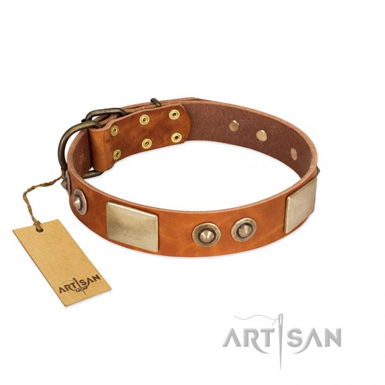"""Perfect Blend"" FDT Artisan Tan Leather Great Dane Collar 1 1/2 inch (40 mm) wide"