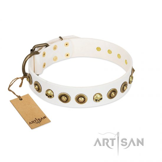 """Wondrous Venture"" FDT Artisan White Leather Great Dane Collar with Skulls and Brooches"