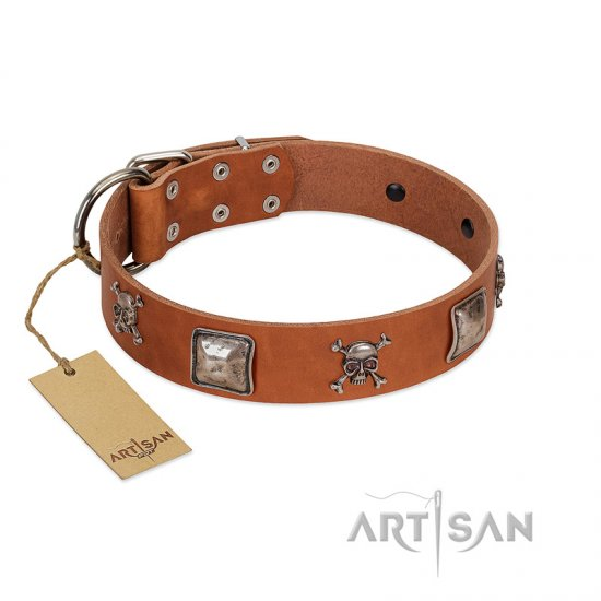 """Amorous Escapade"" Embellished FDT Artisan Tan Leather Great Dane Collar with Chrome Plated Crossbones and Plates"