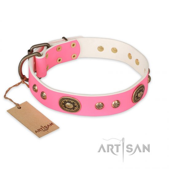 """Sensational Beauty"" FDT Artisan Pink Leather Great Dane Collar with Old Bronze Look Plates and Studs - Click Image to Close"