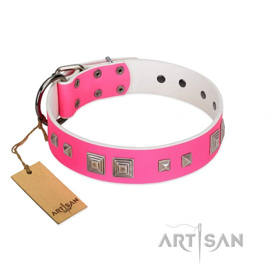"""Rosy Evolution"" Designer Handmade FDT Artisan Pink Leather Great Dane Collar"