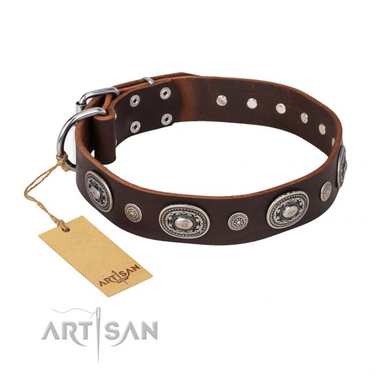 """Extra Pizzazz"" FDT Artisan Adorned Brown Leather Great Dane Collar"