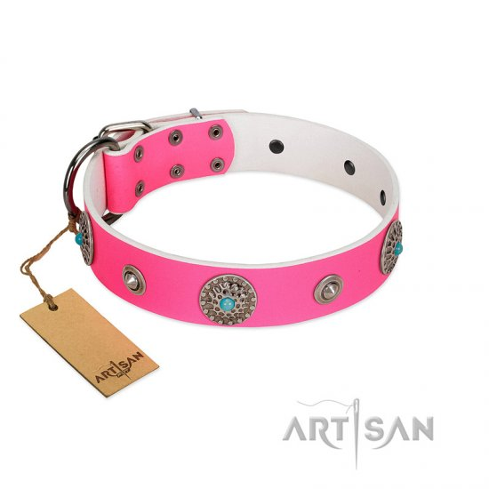 """Chili Mood"" Designer Handmade FDT Artisan Pink Leather Great Dane Collar"