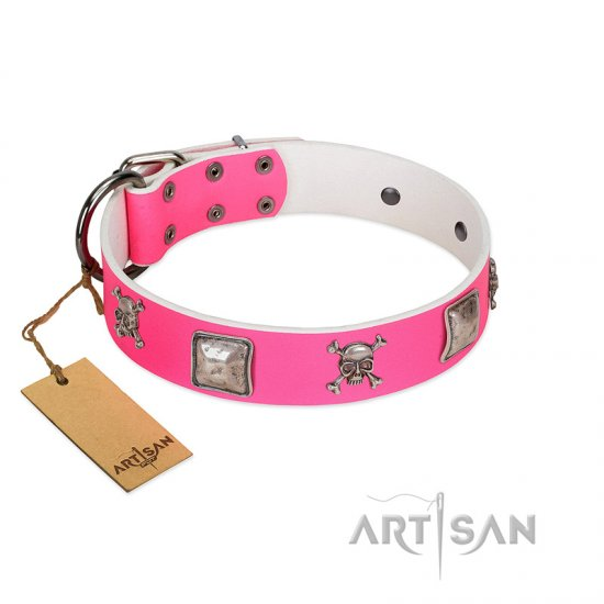 """Rosy Charisma"" Designer Handmade FDT Artisan Pink Leather Great Dane Collar"